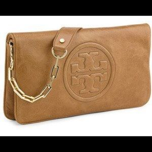 Tory Burch Reva Clutch, Brown leather